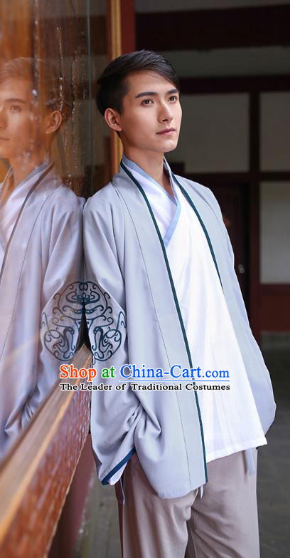Traditional Chinese Hanfu Costumes Ancient Han Dynasty Young Men Embroidery Grey Shirts