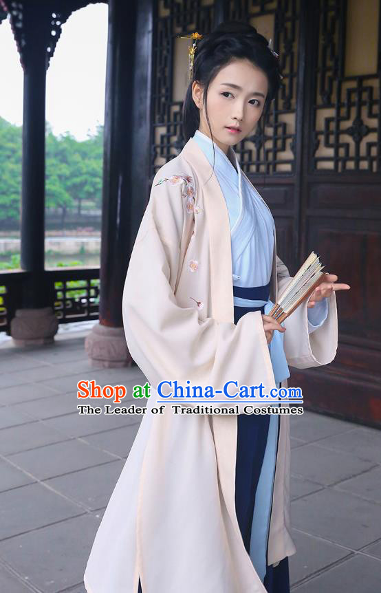 Traditional Chinese Ancient Costumes ASian China Han Dynasty Swordswomen Embroidery Clothing Long Cardigan for Women