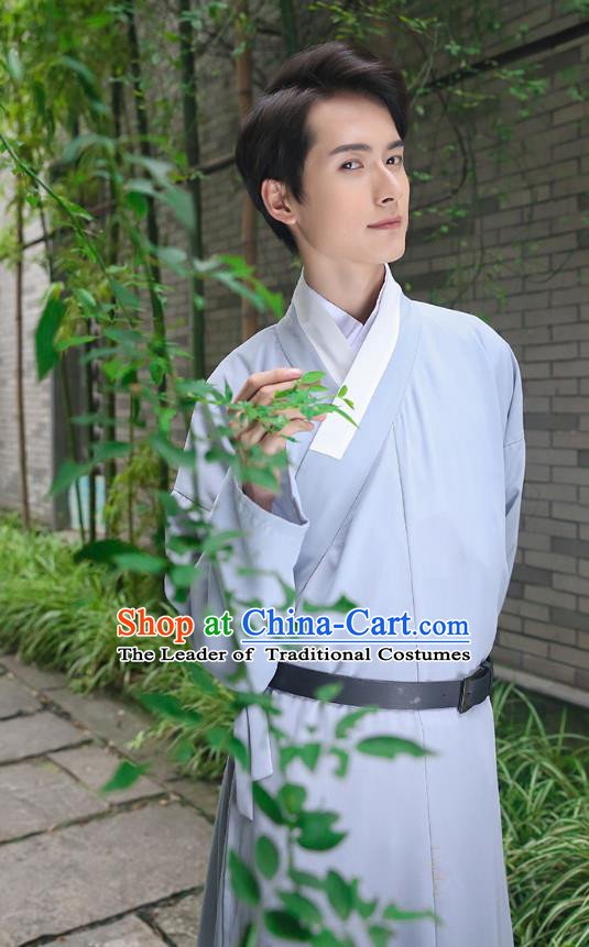 Traditional Chinese Ancient Costumes Asian China Ming Dynasty Swordsmen Embroidery Clothing Grey Long Robe for Men