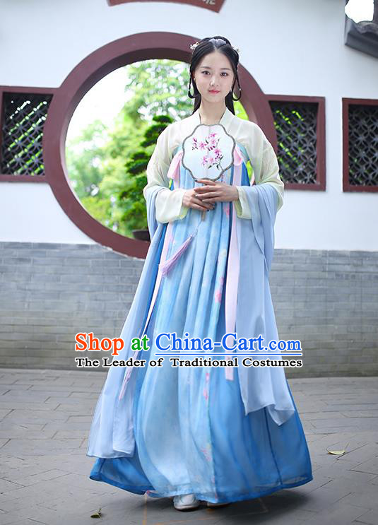 Ancient Chinese Palace Princess Costume, Traditional China Tang Dynasty Empress Clothing Blouse and Blue Skirt Complete Set for Women