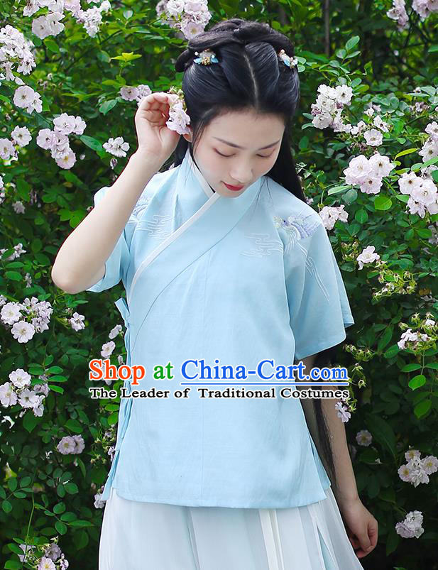 Ancient Chinese Palace Princess Hanfu Costume, Traditional China Song Dynasty Young Lady Clothing Embroidery Blue Blouse