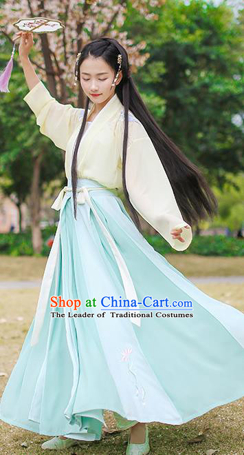 Ancient Chinese Palace Princess Hanfu Costume, Traditional China Song Dynasty Young Lady Clothing Embroidery Blouse and Skirt Complete Set
