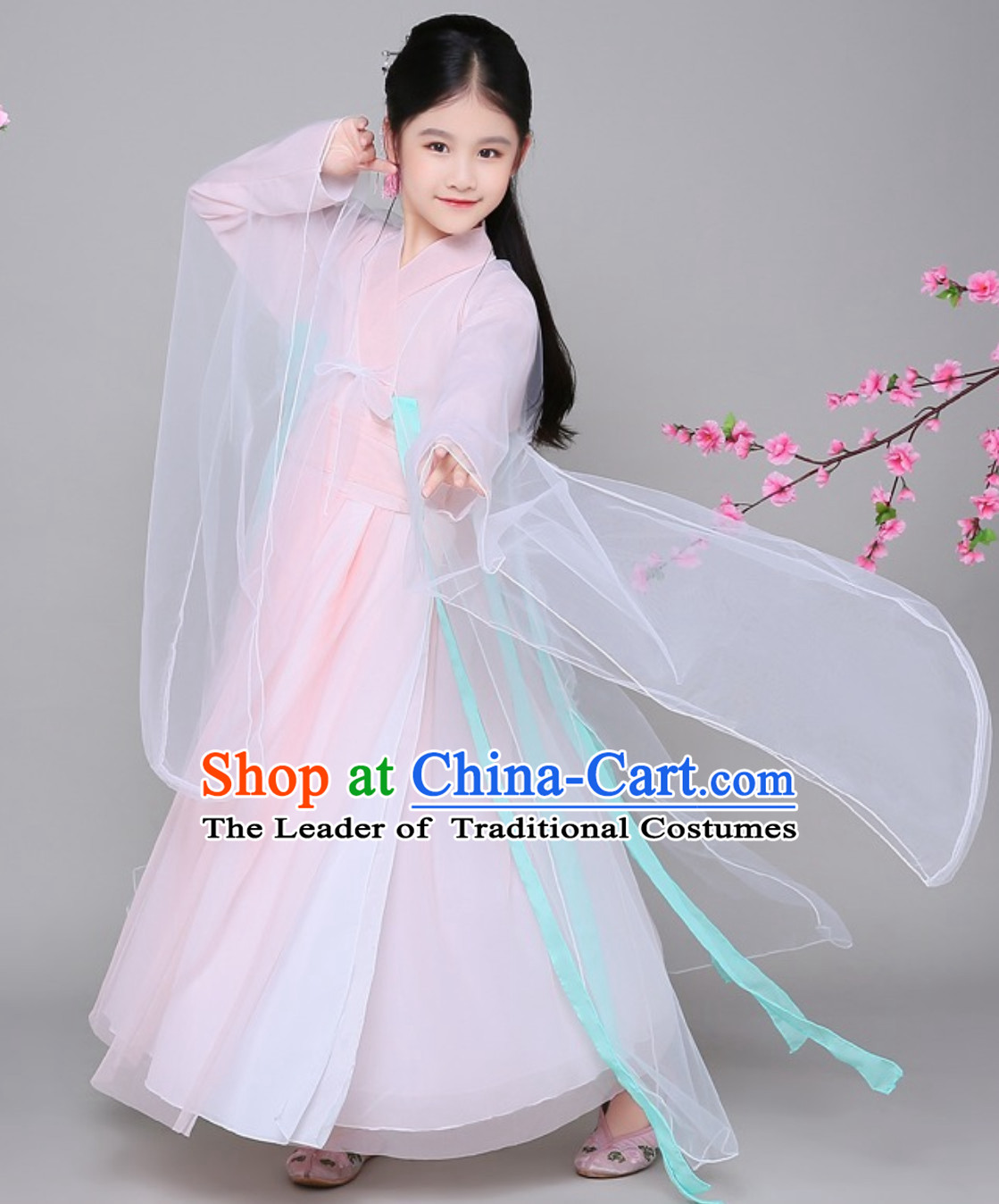 Ancient Chinese Fairy Hanfu Dress Clothing Complete Set for Girls Children Kids