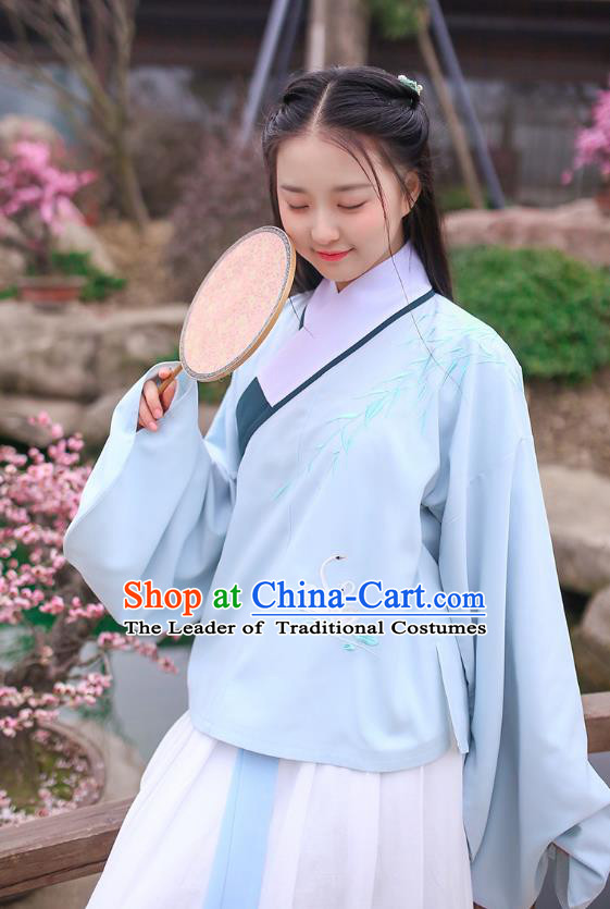 Ancient Chinese Palace Princess Hanfu Costume, Traditional China Ming Dynasty Young Lady Blue Embroidery Blouse and Skirt Complete Set