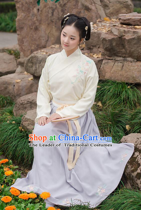 Ancient Chinese Palace Princess Hanfu Costume, Traditional China Ming Dynasty Young Lady Yellow Embroidery Blouse and Blue Skirt Complete Set