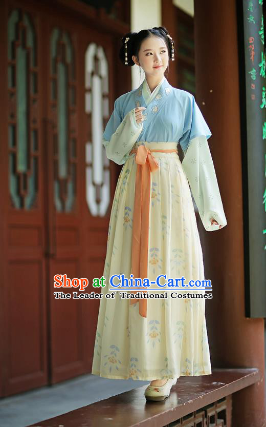 Ancient Chinese Palace Princess Hanfu Costume, Traditional China Song Dynasty Palace Lady Embroidery Clothing Half-Sleeves Blouse and Skirts