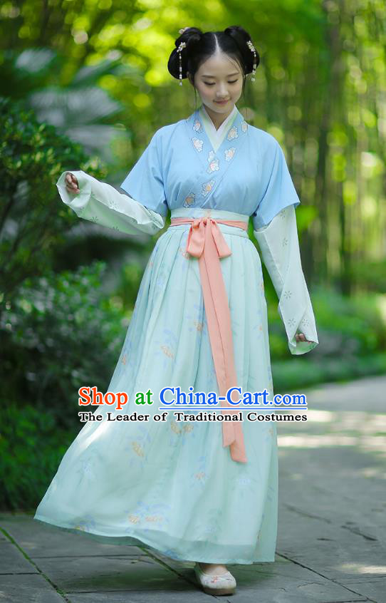 Ancient Chinese Palace Princess Hanfu Costume, Traditional China Song Dynasty Palace Lady Embroidery Clothing Blue Half-Sleeves Blouse and Skirts