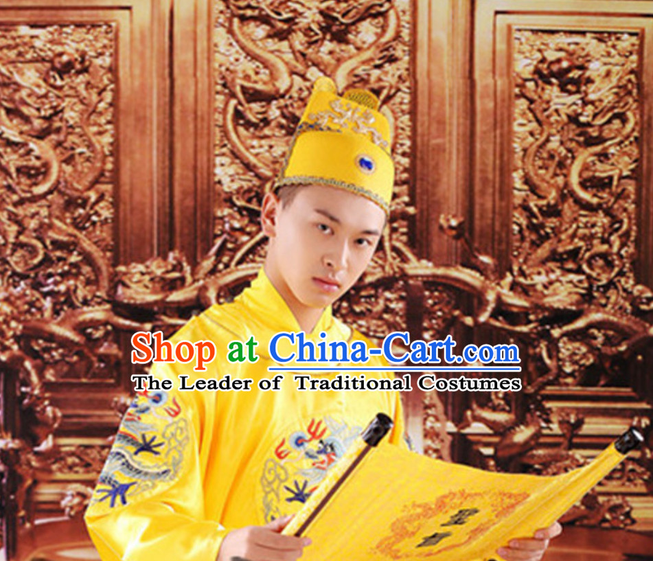 Ancient Chinese Tang Dynasty Emperor and Hat Clothing Complete Set for Men