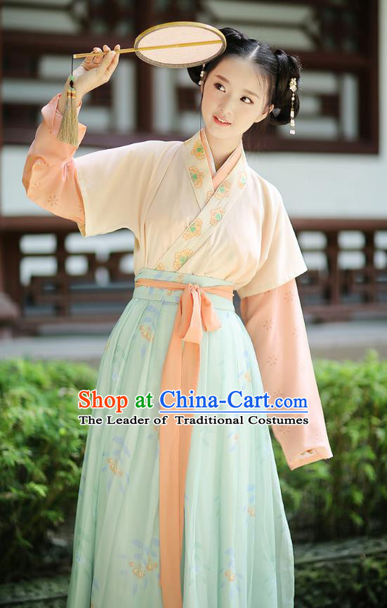Ancient Chinese Palace Princess Hanfu Costume, Traditional China Song Dynasty Palace Lady Embroidery Clothing Yellow Half-Sleeves Blouse and Skirts