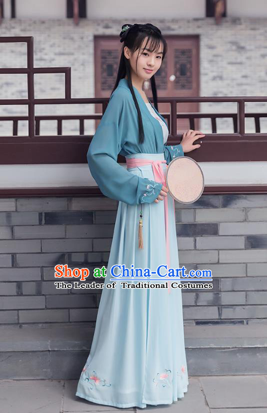 Ancient Chinese Royal Princess Hanfu Costume, Traditional China Song Dynasty Palace Lady Embroidery Blue Blouse and Skirt Complete Set