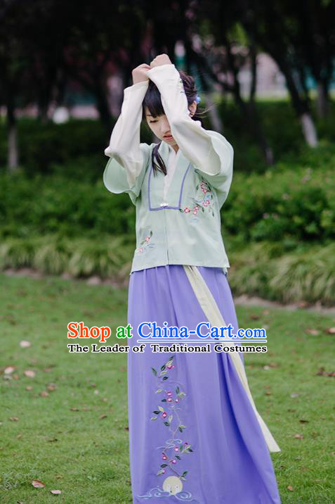 Traditional Chinese Ancient Hanfu Princess Costume, Asian China Song Dynasty Young Lady Embroidery Green Half-Sleeves and Slip Dress for Women