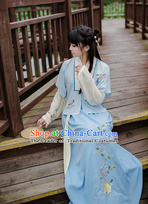 Traditional Chinese Ancient Hanfu Princess Costume, Asian China Song Dynasty Young Lady Embroidery Blue Half-Sleeves and Slip Dress for Women