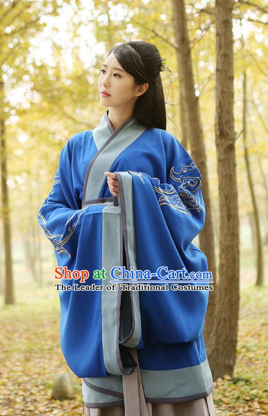 Traditional Chinese Ancient Young Lady Hanfu Costumes Blue Curve Bottom, Asian China Han Dynasty Palace Princess Embroidery Clothing for Women