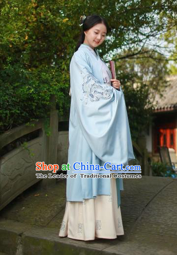 Traditional Chinese Ancient Princess Hanfu Costumes, Asian China Jin Dynasty Palace Lady Embroidery Wide Sleeve Cape for Women