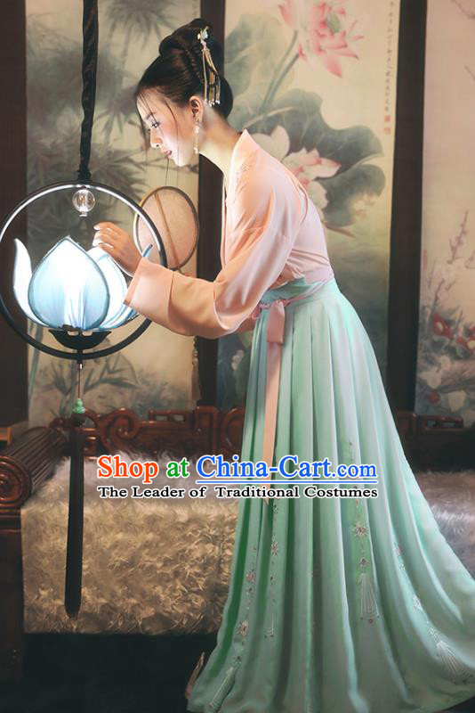 Traditional Chinese Ancient Princess Hanfu Costumes, Asian China Song Dynasty Palace Lady Embroidery Pink Blouse and Green Skirts for Women
