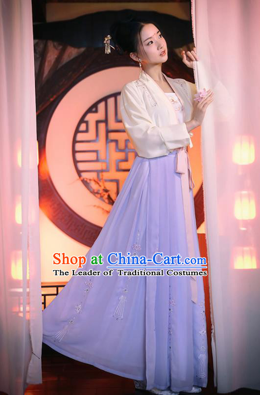Traditional Chinese Ancient Princess Hanfu Costumes, Asian China Song Dynasty Palace Lady Embroidery Blouse and Purple Skirts for Women