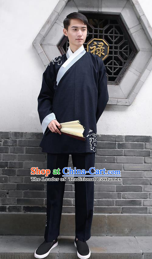 Traditional Chinese Ancient Hanfu Costumes, Asian China Embroidery Black Blouse and Pants for Men