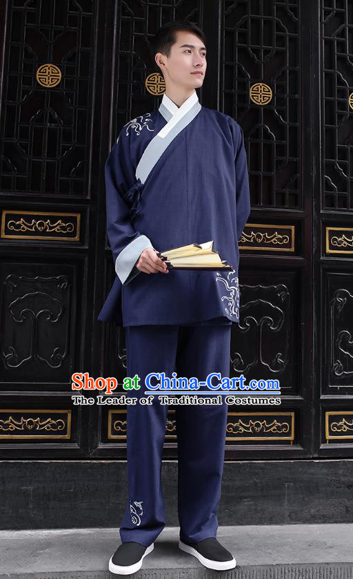 Traditional Chinese Ancient Hanfu Costumes, Asian China Embroidery Navy Blouse and Pants for Men