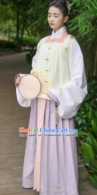 Traditional Chinese Ancient Hanfu Young Lady Costumes, Asian China Song Dynasty Embroidery Yellow Vest for Women