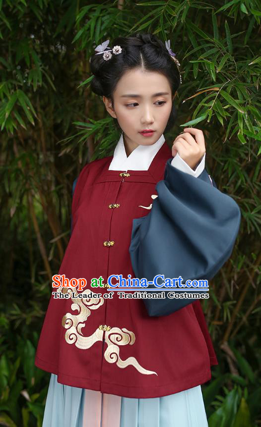 Traditional Chinese Ancient Hanfu Young Lady Costumes, Asian China Song Dynasty Embroidery Red Vest for Women