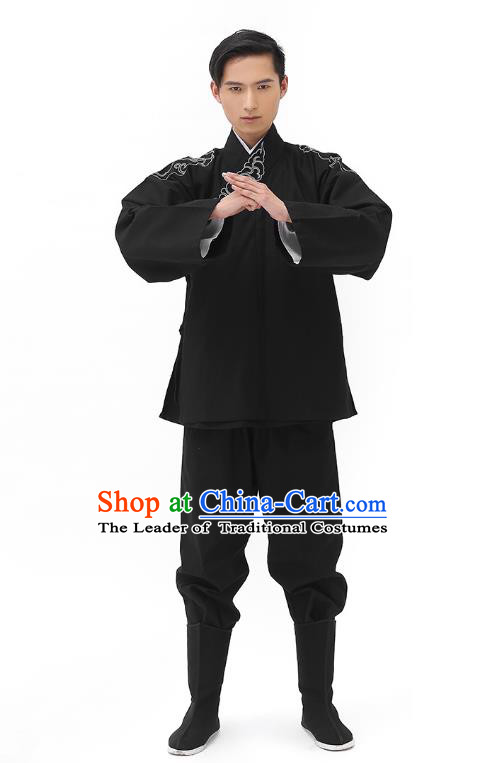Traditional Chinese Ancient Hanfu Costumes, Asian China Han Dynasty Embroidered Black Shirt Upper Outer Garment for Men