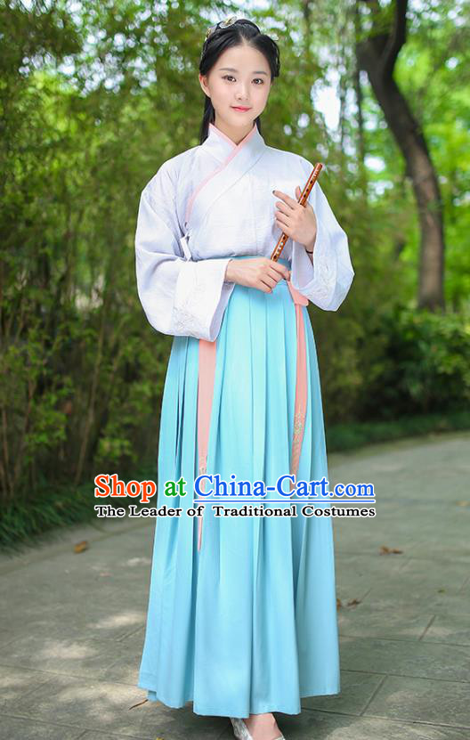 Traditional Chinese Ancient Royal Princess Hanfu Costume, Asian China Han Dynasty Palace Lady Embroidered Dress for Women