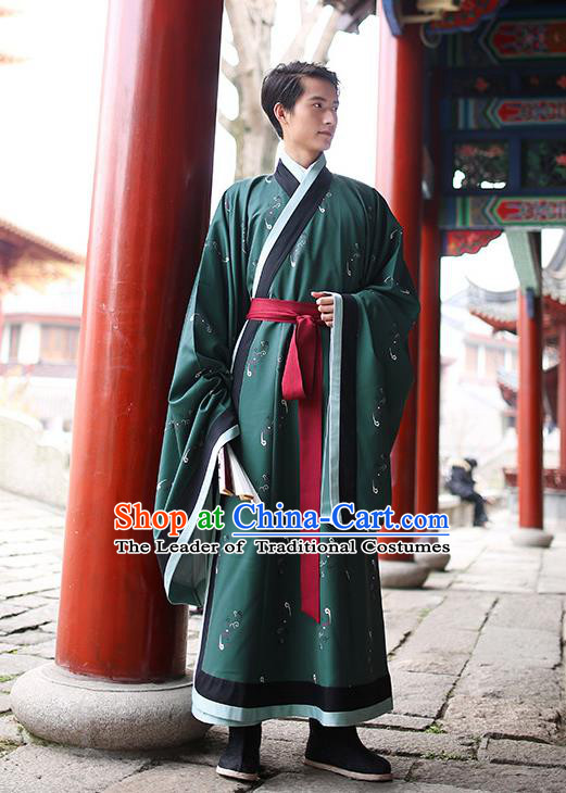Traditional Chinese Ancient Hanfu Swordsman Costume, Asian China Han Dynasty Imperial Bodyguard Embroidered Green Long Robe for Men