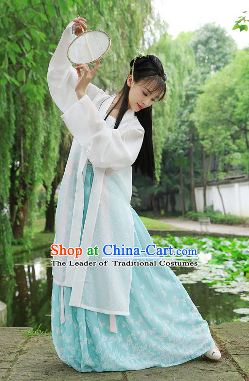 Traditional Chinese Ancient Hanfu Princess Costume, Asian China Song Dynasty Palace Lady Embroidered White Cardigan for Women