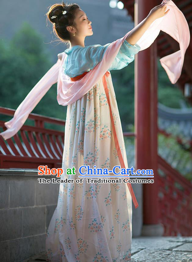 Traditional Chinese Ancient Hanfu Princess Costume, Asian China Tang Dynasty Palace Lady Embroidered Blouse and Slip Skirts for Women