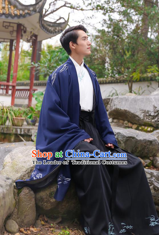 Traditional Chinese Ancient Hanfu Swordsman Costume, Asian China Han Dynasty Imperial Bodyguard Embroidered Royalblue Cloak for Men