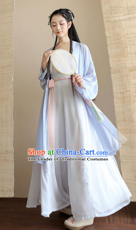 Traditional Chinese Ancient Hanfu Princess Costume Blue Cardigan, Asian China Song Dynasty Palace Lady Embroidered Clothing for Women