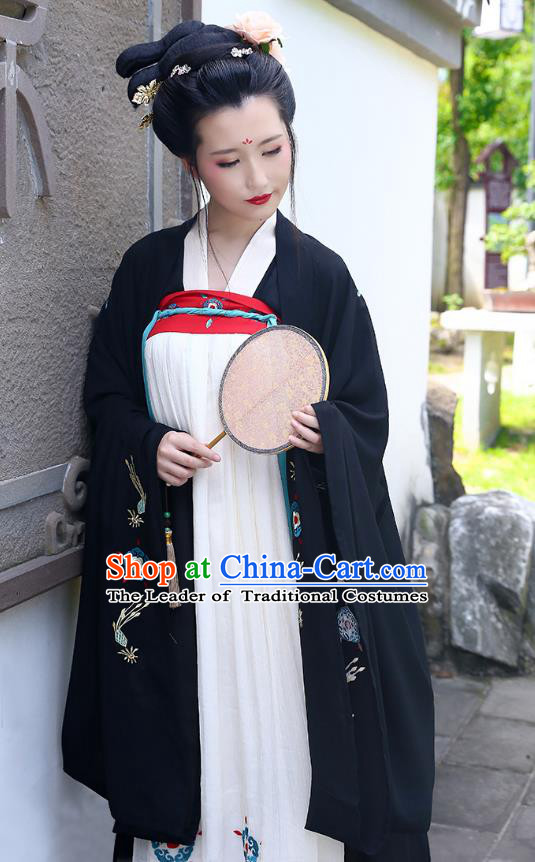 Traditional Chinese Ancient Hanfu Princess Costume Wide Sleeve Black Cardigan, Asian China Tang Dynasty Palace Lady Embroidered Clothing for Women