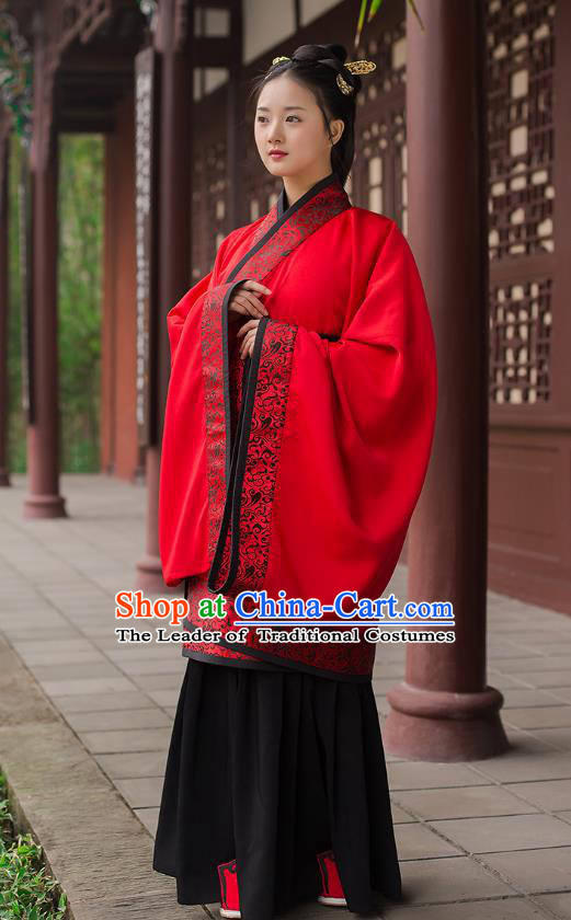 Traditional Chinese Ancient Hanfu Princess Costume Red Curve Bottom, Asian China Han Dynasty Palace Lady Clothing for Women