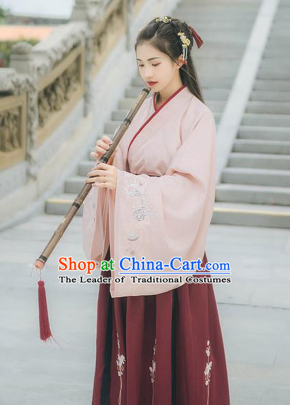 Traditional Chinese Ancient Hanfu Costume Palace Lady Clothing, Asian China Ming Dynasty Embroidered Pink Blouse for Women