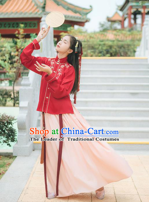 Traditional Chinese Ancient Hanfu Costume Palace Lady Clothing, Asian China Ming Dynasty Embroidered Red Blouse and White Skirts for Women