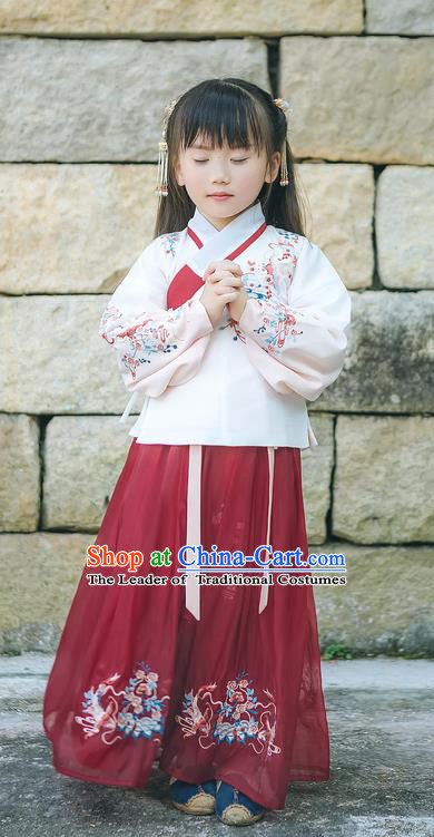 Traditional Chinese Ancient Hanfu Costume Palace Lady Dress, Asian China Ming Dynasty Embroidered White Blouse and Red Skirt Clothing for Kids
