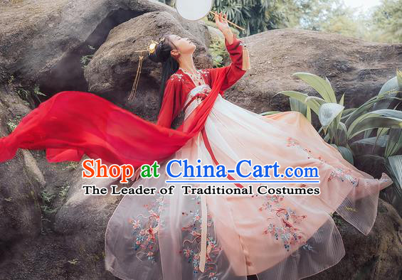 Traditional Chinese Ancient Hanfu Costume Palace Lady Dress, Asian China Tang Dynasty Princess Embroidered Clothing for Women