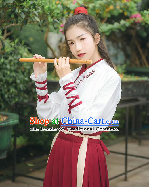 Traditional Chinese Ancient Hanfu Costume Swordswoman Dress, Asian China Han Dynasty Embroidered Clothing for Women