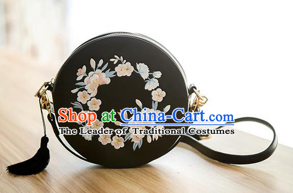Traditional Chinese Ancient Hanfu Accessories Black Bags, Asian China Han Dynasty Princess Embroidered Handbag