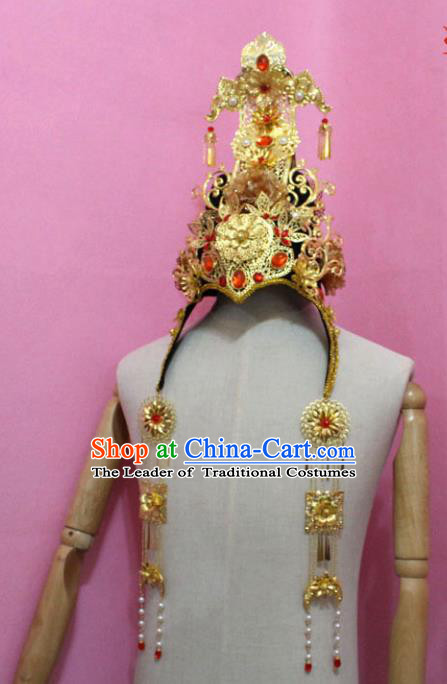 Traditional Handmade Hair Accessories Palace Lady Phoenix Coronet, China Xiuhe Suit Tassel Headwear for Women