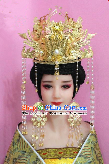 Traditional Handmade Chinese Hair Accessories Palace Lady Empress Golden Phoenix Coronet, Xiuhe Suit Tassel Step Shake Hairpins for Women