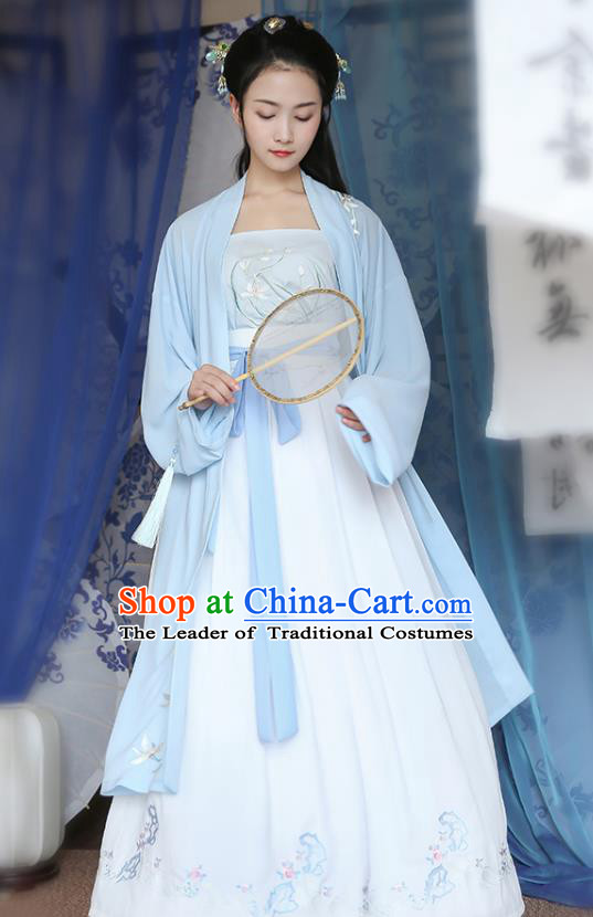 Traditional Chinese Ancient Hanfu Princess Costume Blue Embroidered Cloak, Asian China Song Dynasty Palace Lady Cardigan Clothing for Women