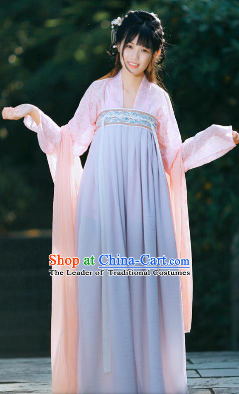 Traditional Chinese Ancient Palace Lady Costume, Asian China Tang Dynasty Royal Princess Embroidered Blue Slip Skirts for Women