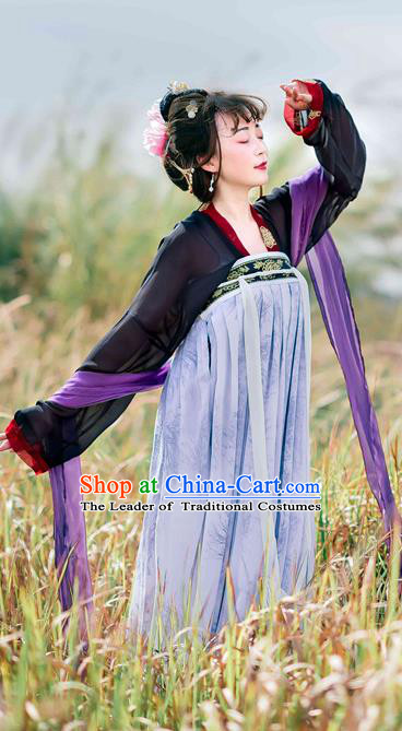 Traditional Chinese Ancient Palace Lady Costume, Asian China Tang Dynasty Imperial Concubine Embroidered Slip Skirts for Women