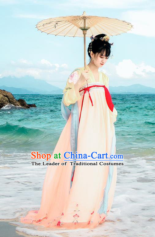 Traditional Chinese Ancient Palace Lady Costume, Asian China Tang Dynasty Princess Embroidered Blouse and Pink Slip Skirts for Women