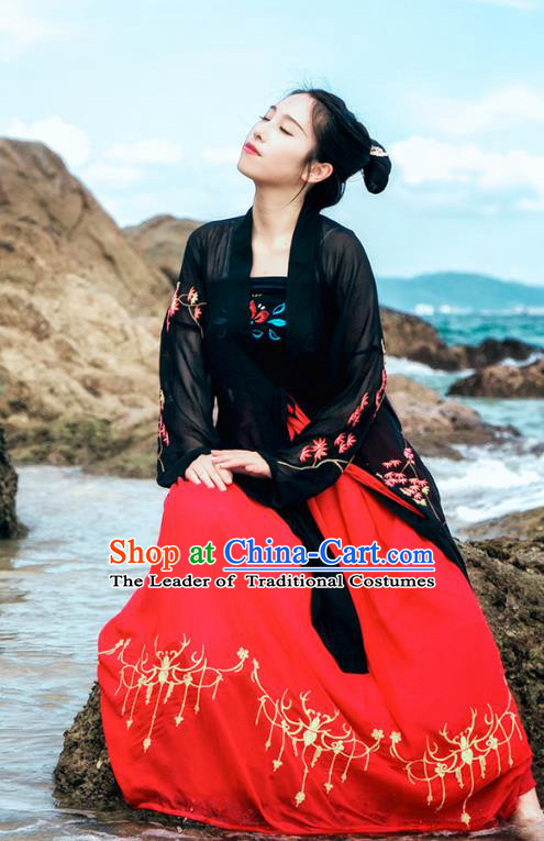 Traditional Chinese Ancient Palace Lady Costume, Asian China Song Dynasty Princess Embroidered Black BeiZi and Slip Skirts for Women