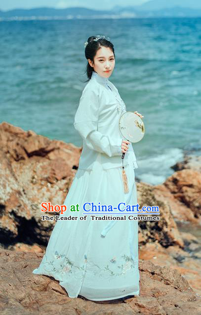 Traditional Chinese Ancient Palace Lady Costume, Asian China Ming Dynasty Princess Embroidered Blouse and Slip Skirts for Women