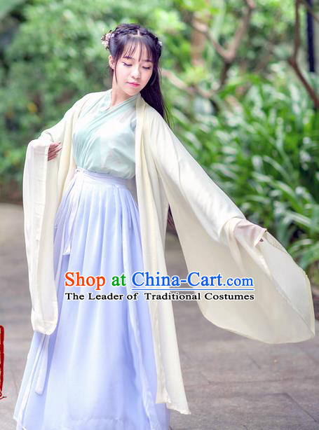 Traditional Chinese Ancient Palace Lady Costume, Asian China Tang Dynasty Princess Embroidered Wide Sleeve White Cardigan for Women