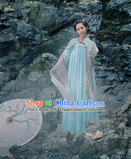 Traditional Chinese Ancient Palace Lady Costume, Asian China Tang Dynasty Princess Embroidered Dress for Women