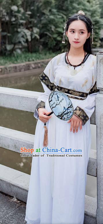 Traditional Chinese Ancient Palace Lady Costume, Asian China Tang Dynasty Princess Embroidered Black Half-Sleeves Slip Skirt for Women